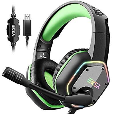 EKSA Gaming Headset with 7.1 Surround Stereo Sound for PS4 PS5 PC USB Gaming Headphones with Noise Canceling Mic & RGB Light Over Ear Headphones, Compatible with PC, PS4 PS5 Console