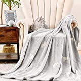 JINCHAN Grey Throw Blanket Cat Blanket Glow in The Dark Comfy Flannel Fluffy Blankets for Bed Couch Livingroom Decor Soft Blanket Throw All Seasons Gift for Girls Boys Kids 40x60 Inch