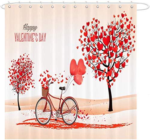 remmber me Valentinstag Liebe Herz Baum im Wind Fahrrad Liebhaber mit Luftballons Duschvorhang wasserdicht Badezimmer Dekor Polyester Stoff Vorhang Sets mit Haken 60 x 72 Zoll