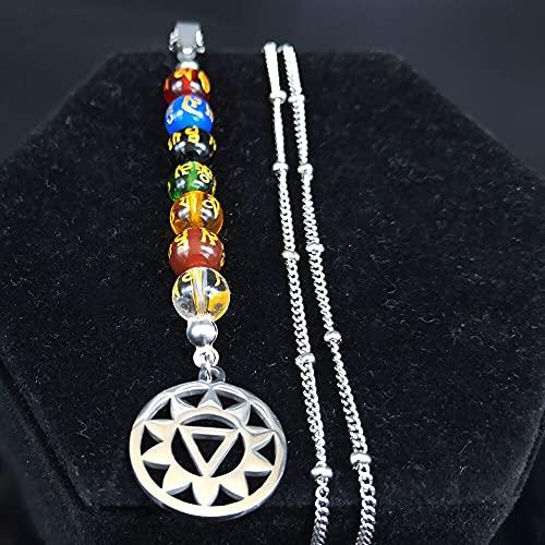 YUANBOO Talla de Cuentas budistas Collares y Colgantes de Acero Inoxidable for Mujeres 7 Collar de Color Joyería de Cadena Collar de Mujer