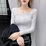 Avsvcb Otoño borgoña Cuello Cuadrado Camiseta de Manga Larga diseño Femenino Sentido pequeño Cintura Alta...