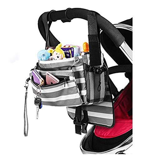 SummarLee Kinderwagen Windel Aufbewahrungstasche Baby Out Tragbare Aufbewahrungstasche Hängende Tasche Babyflasche Aufbewahrungstasche Graue und weiße Streifen