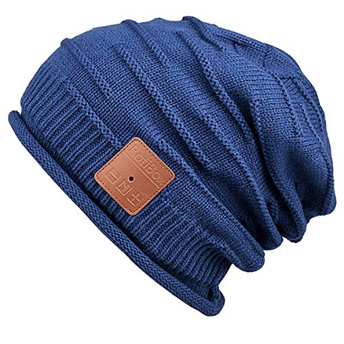 Bluetooth Beanie Hat,Mydeal Slouchy Skully Strip Cap with Wireless Bluetooth Headphone Headset Earphone Music Audio Hands-Free Phone Call for Winter Sports Fitness Gym Exercise Workout - Black/Orange