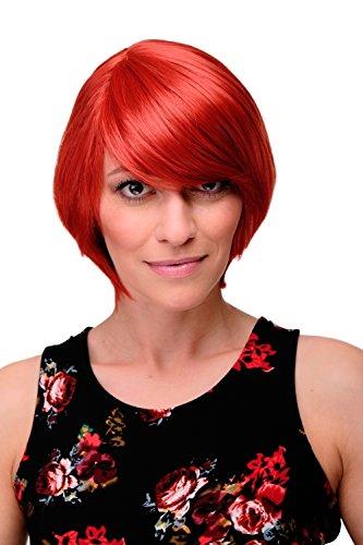 WIG ME UP - Kurzhaarperücke Frauen Perücke Rot Knallrot Rot-Mix glatt Pony Seitenscheitel ca. 25cm 6082-137