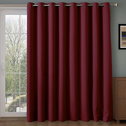 Rose Home Fashion RHF Wide Thermal Blackout Patio door Curtain Panel, Sliding door curtains Antique Bronze Grommet Top 100W by 84L Inches-Burgundy