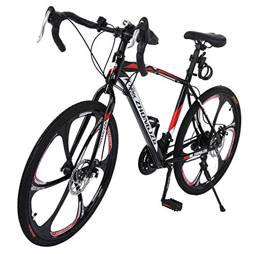 gbdaet Shimanos Mountain Bike ,26 inch, 21-Speeds Bicycle ,Full Suspension MTB Bikes for a Path, Trail & Mountains (59x9.8x27.5in, Black Red)