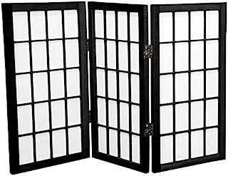 Oriental Furniture 2 ft. Tall Desktop Window Pane Shoji Screen - Black - 3 Panels(B)