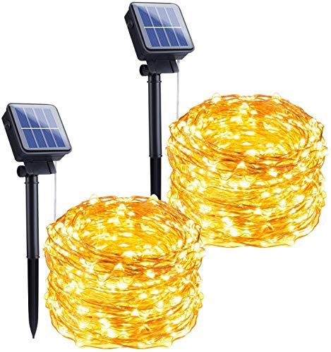 Solar Garden String Lights Outdoor 2 Pack 10M/33FT 100 LED Solar Fairy Lights Waterproof Decoration Copper Wire Lights with 8 Modes for Patio Yard Lawn Trees Christmas Wedding Party Decor (Warm White)