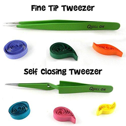 Quill On-Quilling Tweezers - Set of 2 - Quilling Tools-Combo of Fine Tip Tweezer and Self Closing Tweezer- Essential Quilling Tool