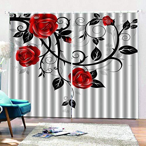 cortinas salon flores rojas