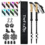 TheFitLife Carbon Fiber Trekking Poles – Collapsible and Telescopic Walking Sticks with Natural