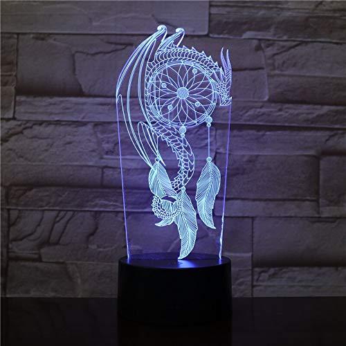 Lámpara de bricolaje luminosa de 7 colores Día de San Valentín Carillón de viento Lámpara de mesa Interruptor Atrapasueños Luz de noche táctil 3D Lámpara de color atmosférico de Halloween