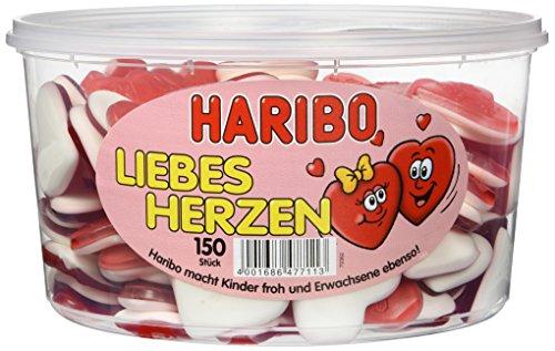 HARIBO - Liebesherzen - Schaumgummi/Fruchtgummi-Herzen - 1 Box mit 150 Stück
