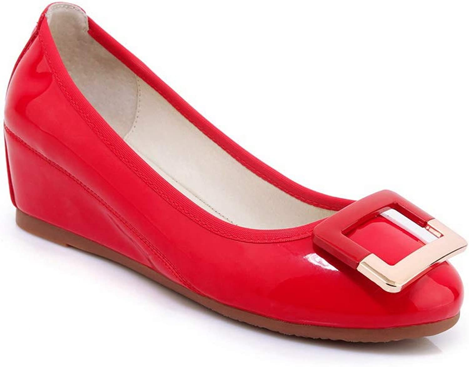 AN Womens Wedges Metal Buckles Patent-Leather Pumps shoes DGU00745