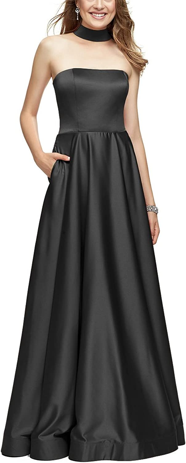 Homdor Strapless Prom Dresses Long ALine Backless Chocker Evening Gowns with Pockets