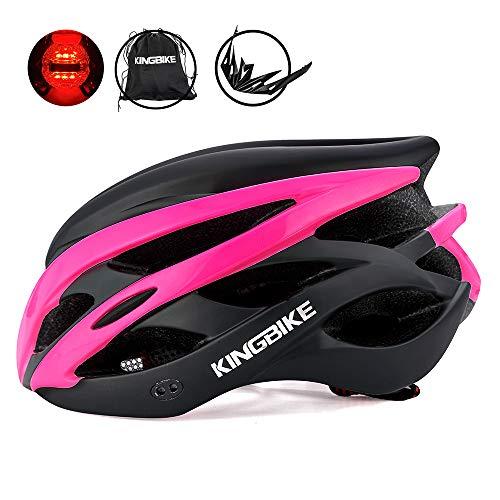 KINGBIKE自転車ヘルメット大人のロードバイク/サイクリングヘルメットシンプルなヘルメットのバックパックメンズ女性との超軽量高剛性LEDライトヘルメット56-63 CM M/L/XL (XL(59-63CM), ローズレッド&ブラック)