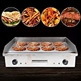 Commercial Grill Countertop Griddle, Electric Nonstick Home Flat Stainless Steel Restaurant Grill Cooktop BBQ Hot Plate(110V 4400W)