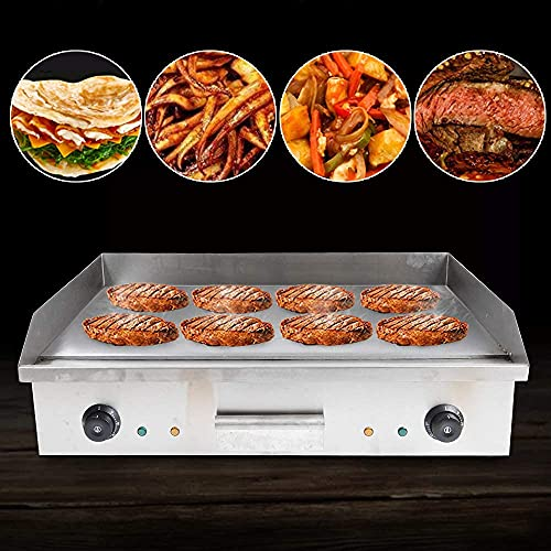 110V 4400W Commercial Grill Countertop Griddle, Electric Nonstick Home Flat Stainless Steel Restaurant Grill Cooktop BBQ Hot Plate