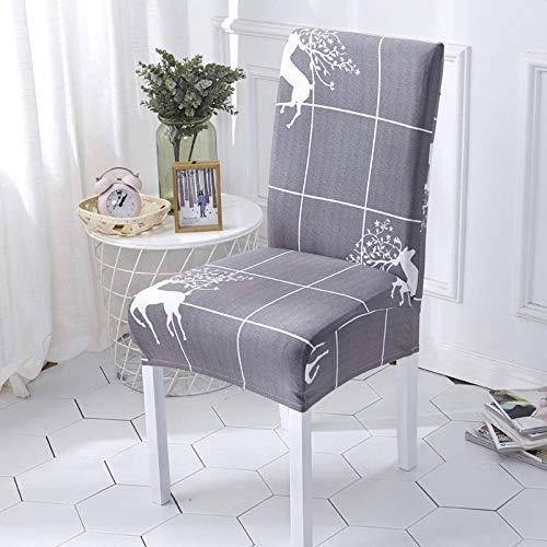 Fundas para sillas Rejilla Gris Spandex Fundas sillas Comedor Lavable Extraíble Funda Muy fácil de Limpiar Duradera Modern Bouquet de la Boda Hotel Decor Restaurante 4/Piezas