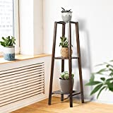 3-Tier Tall Plant Stand for Indoor Plants, 39-Inch Bamboo Plant Stand for Flower Pot Display, Triple Process-Surface Smooth, Waterproof, Multi-Tiered Wooden Corner Plant Stand for Indoor Outdoor