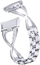 Gear Fit 2 Pro Horlogeband, RuiRdot X-Shape Bling Strass Armband Vervanging Roestvrijstalen Verstelbare Band Polsband Comp...