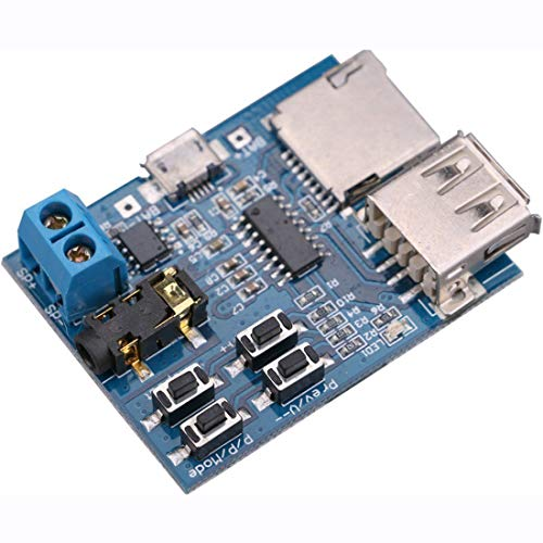 HiLetgo TF Card U Disk Play MP3 Decoder Player Module with Audio Amplifier Audio Decoding Player Module Micro USB 5V Power Supply