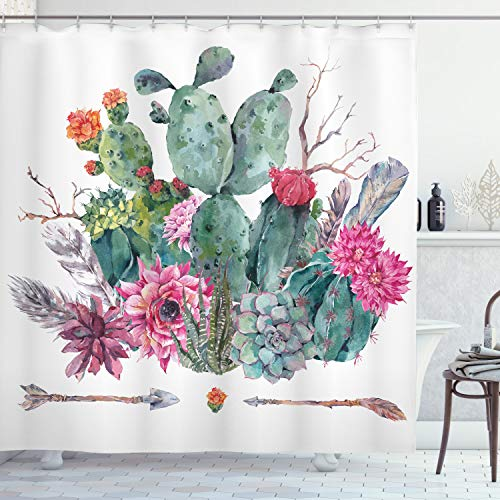 ABAKUHAUS Kaktus Duschvorhang, Blumenstrauß in Boho Style-Pfeil, mit 12 Ringe Set Wasserdicht Stielvoll Modern Farbfest & Schimmel Resistent, 175x220 cm, Mehrfarbig