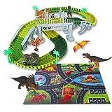 Volbaby - Juguetes de pista de carreras de dinosaurios, 144 piezas, conjunto de tren de dinosaurio flexible con alfombra de juego de 3 DIN, luces intermitentes, juguetes de dinosaurio