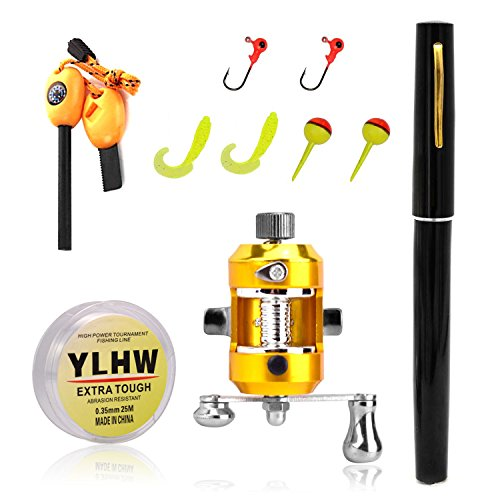 ActionEliters Portable Mini Pocket Pen Fishing Rod Pole Reel With Two Baits Two Fishhooks Two Fishing-buoys and 20 Meters Fish Wire+ Survival Magnesium Firestarter Compass Whistle Orange (Black)