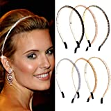 Fashband Crystal Rhinestone Headbands Bling Hair Hoop Thin Hair Bands Hair Accessories for Women and Girls Pack of 6