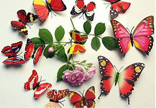 3D Papillon 12 PIÈCES Autocollants Faisant autocollants Autocollant Mural Loisirs créatifs Papillons - Violet, 1 - Pack: 12 PCS