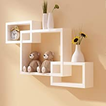 Skyline Mart Intersecting Wall Mounted Shelf Rack Storage Unit for Home Decor Living Drawing Kids Room Set of 3 (White)
