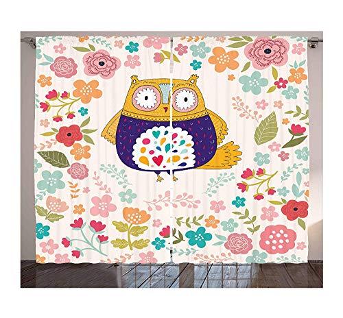 MKmd-s Scarabocchi Ornamentali di Fiori Colorati di Uccelli e Fiori in Fiore con Tende da Gufo Ispirati al Design Vintage
