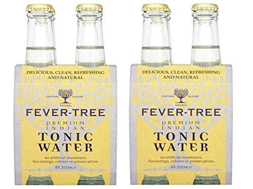 Fever-Tree - Agua Premium Indian Tónica - 2 packs de 4 botellas (total 8 botellas, 1600 ml)