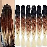 Jumbo Lot de 6 extensions de cheveux synthétiques, colorées, résistantes à la chaleur, pour le...
