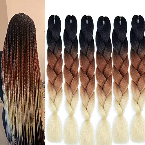 24 Inch 6pc Ombre Jumbo Braiding Hair Extensions Jumbo Braid Hair Long Jumbo Braids For Box Twist Braid Crochet Hair High Temperature Fiber 3 Tone Colored (24', (black-brown-blonde))