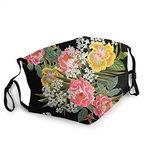 Blooming Flowers On Black Printed M-A-S-Ks - Pañuelo facial reutilizable para adultos con estampado de flores
