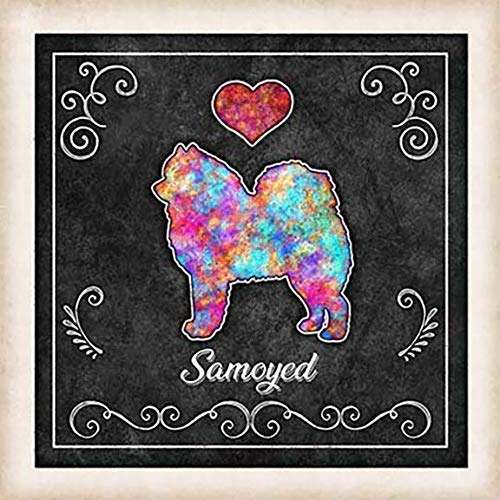 Samoyed Dog Chalk Art Mounted Morris Fashionable Print Dan by Ranking TOP7