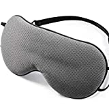 Sleep Mask with Breathable Hole,PaiTree 100% Nature Silk Eye Mask for Women and Men Soft Comfort Eye Shade Cover Soft and Cool Eye Blinder for Travel/Sleeping Grey