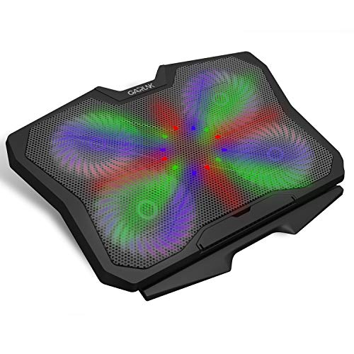 GARUNK Laptop Cooler Cooling Pad for 13.3-17 Inch Laptop with 4 Quite 125mm Fans at 1500 PRM and Colorful LED, Dual USB 2.0 Ports and Adjustable Mount Stand