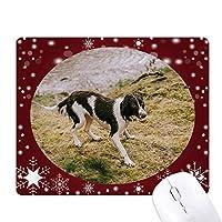 犬動物画像ブラックホワイト オフィス用雪ゴムマウスパッド