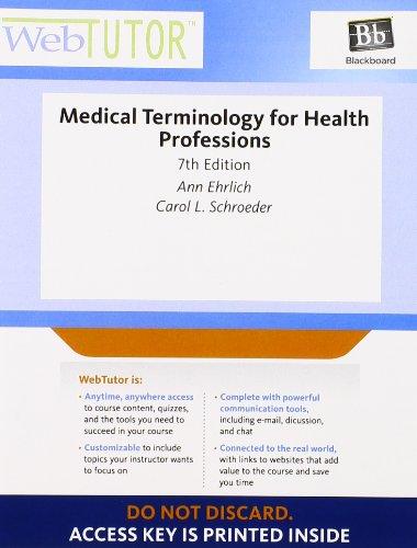 WebTutor™ Advantage on Blackboard Printed Access Card for Ehrlich/Schroeder's Medical Terminology for Health Professions