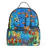 Eslifey Fantastische Unterwasserwelt Büchertasche, Schulranzen, Tagesrucksack, für Studenten