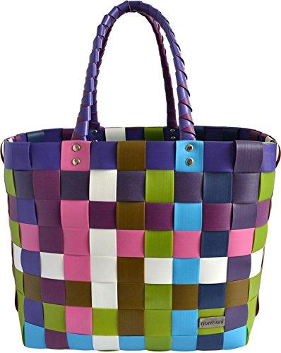 normani Einkaufskorb Shopper geflochten aus Kunststoff - robuster Strandkorb aus wasserabweisendem Material Farbe Classic/Sweet