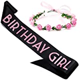 CORRURE 'Birthday Girl' Sash and Crown of Flowers - Soft Satin Black with Pink Glitter Birthday Sash and Headband Tiara for Women - Ideal Sweet 16, 18th 21st 25th 30th 40th or Any Other Bday Party
