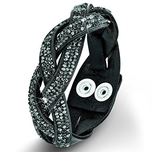 s.Oliver Damen-Armband Messing Leder Glas schwarz 20 cm