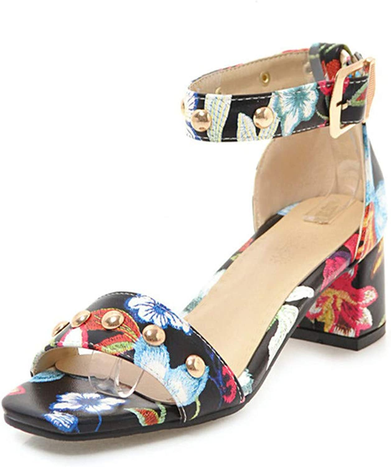 XuanHan Flowers Printing Concise Ankle-Strap Women Sandals shoes Fashion Party Sandal Women