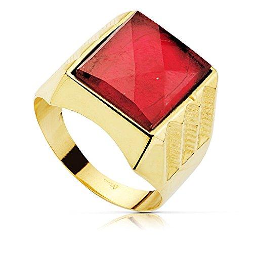 Sello oro 18k centro piedra espinela roja 14x12mm. [AB2283]