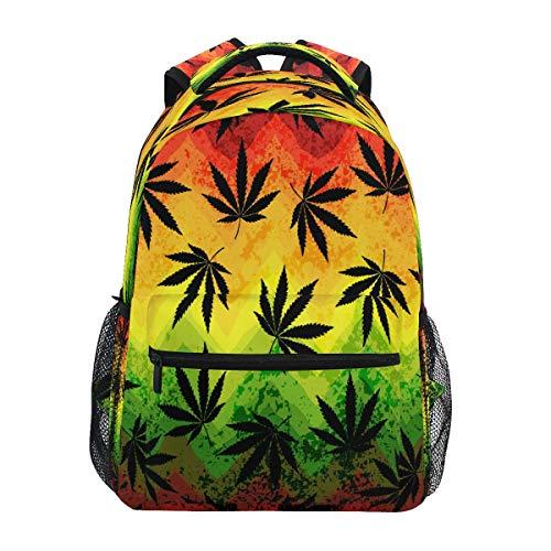 RXYY - Mochila escolar con hojas de marihuana coloridas geométricas para niños y niñas, gran capacidad, bolsa de viaje, bolsa de viaje, mochila de colegio, bolsa para senderismo, camping