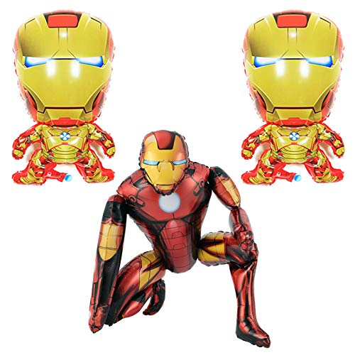 1pcs Iron Man Airwalker Balloons and 2pcs Iron Man Foil Balloons Birthday Party Supplies Decorations Set for Kids